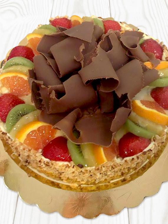 Torta di Frutta con Riccioli di Cioccolato