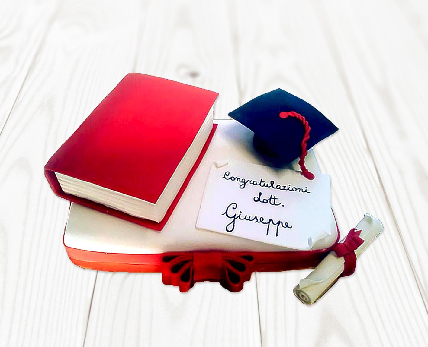 Torta Laurea Cake Design con Libro e Tocco Pasta di Zucchero 019b9777fe62